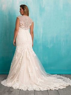 Allure cap sleeves beadwork plus size lace bridal dress