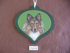 Original Hand Painted Collie Gift Ornament or Tag by PainterPals on Etsy.com