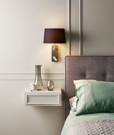 An adjustable shaded wall light with an LED adjustable spot - perfect for late night reading. Great for bedside installation and comes in a choice of finishes and shade colours. Wall Mounted Bedside Lights, Wall Mounted Reading Lights, Bedroom Reading Lights, Bedside Reading Light, Reading Wall, Bedside Lighting, Bedroom Lighting, Wall Lamps, Bedroom Lamps