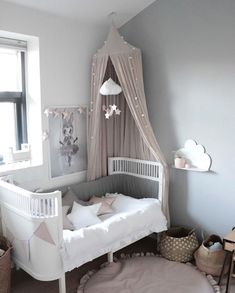 A pretty little girl's room, love the grey, pink and white combo ♡