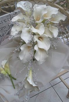 Crystal Lily Bouquet by AngelsWeddings on Etsy