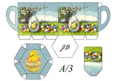 Free printable Easter cup with lid and tag by JB.  A cute container for chocolates and candy.