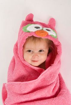 pink owl hooded towel on Etsy