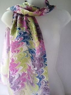 Purple scarf hand painted silk colorful scarf by JasmineVelvet