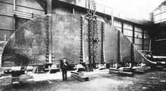 The 78-foot, 8 inch rudder of RMS Titanic awaiting installation at Harland and Wolff Shipyards in Belfast. Photograph: Robert Welch (1859-1936)