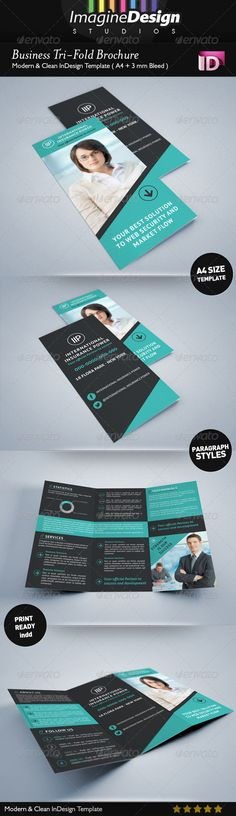 Business Tri-Fold Brochure  #GraphicRiver                    Business Tri-Fold Brochure  Business Tri-Fold Brochure it is a professional and clean InDesign tri-fold template that can be used for Business & Corporate tri-folds. This item consists of an inside and outside that are fully editable and customizable. The design has a great selection of high quality page layouts, giving you a document you can use straight away, without having to design further pages.  Features :   2 pages : Inside…