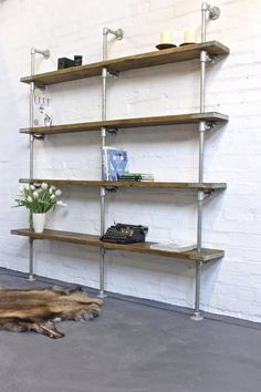 Oak Stained Scaffolding Boards and Galvanised by inspiritdeco