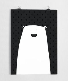 Art print, black and white poster, polar bear illustration, from A Grape Design