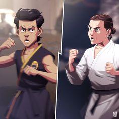 Karate Kid Movie, Karate Kid Cobra Kai, Cobra Kai Wallpaper, Cobra Kai Dojo, Star Wars Fan Art, Cool Artwork, Martial Arts, Robin, Mario