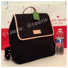 """New Kate Spade black nylon backpack book bag 100% authentic. Black nylon with leather trim. Top flap magnetic snap closure. Fabric lining and inside zip and slip pockets. Adjustable shoulder straps. Measures approximately 13"""" (L) x 12"""" (H) x 5.5"""" (W). Brand new with tags. Comes from a pet and smoke free home. kate spade Bags Backpacks"""