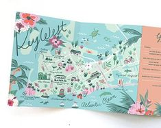 Wedding Invitation Map - Tri-fold Invitation - Key West, Florida - Destination Wedding - Any Location Map Design, Graphic Design, Leaflet Design, Book Design, Design Thinking, Map Wedding Invitation, Wedding Stationery, Invitation Ideas, Invites