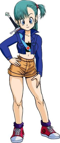 Bulma wearing Future Trunk's clothes.