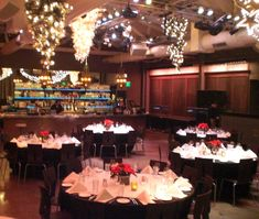 Our banquet hall, decorated for Christmas