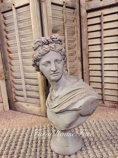 FRENCH PROVINCIAL David Roman Statue Plaster Bust by FarmHouseFare