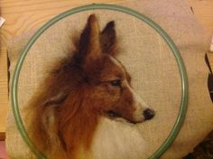 Needle felted 2D picture Sheltie Collie dog