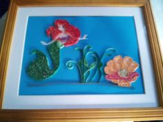 Hand quilled Little Mermaid - inspired by the popular movie character.