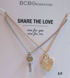 BCBG Share The Love 2 Necklaces One for You & One for Me NWT Lock & Key #BCBG #Charm