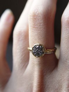 Silver gray druzy Ring in 14k Gold by friedasophie on Etsy, $89.00