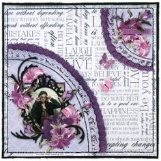 layout for Merly Crop using Kaisercrafts Violet Crush collection. 12x12 Scrapbook, Wedding Scrapbook, Scrapbooking Layouts, Paper Art, Paper Crafts, Iris Folding, General Crafts, Xmas, Frame