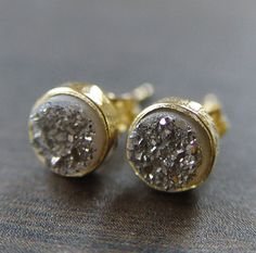 gray druzy gold stud earrings