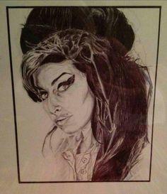 Amy Winehouse biro sketch