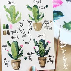 50 amazing doodle How to's for your bullet journal is part of Cute Animal drawings Tekenen - Want to learn how to doodle in your bullet journal These 50 doodle doodle howto 's to make doodles in your bujo easy and simple to draw Watercolor Cactus, Watercolor Drawing, Painting & Drawing, How To Watercolor, Watercolor Beginner, Painting Walls, Watercolor Illustration Tutorial, Watercolour Tips, Cactus Drawing