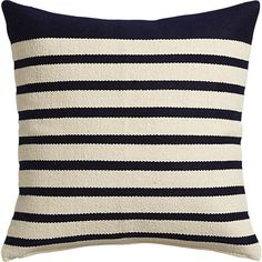 Option 4: Upcycled yarn spins a fresh color story in a nubby, earthy weave of navy/natural stripes. Wide navy border on one end keeps things unpredictable.