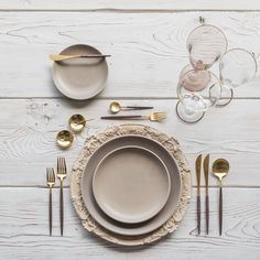 RENT: Verona Chargers in Terracotta + Heath Ceramics in French Grey + Goa Flatware in Brushed 24k Gold/Wood + Chloe 24k Gold Rimmed Stemware + Chloe 24k Gold Rimmed Goblet in Blush + 14k Gold Salt Cellars + Tiny Gold Spoons SHOP: Verona Chargers in Terracotta + Goa Flatware in Brushed 24k Gold/Wood + Chloe 24k Gold Rimmed Stemware + 14k Gold Salt Cellars + Tiny Gold Spoons