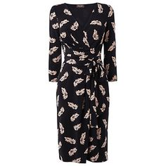 Buy Phase Eight Feather Print Dress, Black/Camel Online at johnlewis.com