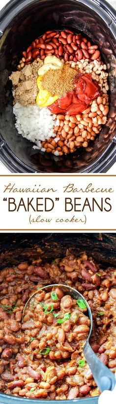 "Slow Cooker Hawaiian Barbecue Baked Beans Slow Cooker Hawaiian Barbecue ""Baked"" Beans simmered in a pineapple infused barbecue bath enlivened with just the right kick of Cajun spices. These beans are a real crowd pleaser and couldn't be any easier! Barbecue Baked Beans Recipe, Slow Cooker Baked Beans, Baked Bean Recipes, Crock Pot Slow Cooker, Slow Cooker Recipes, Cooking Recipes, Potato Recipes, Healthy Recipes, Pasta Recipes"