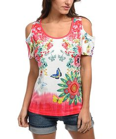 White & Pink Floral Cutout Top