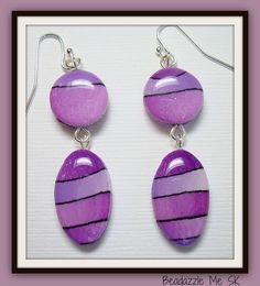 Purple Passion Dangle Earrings, polymer clay jewelry by BeadazzleMe, via Etsy.