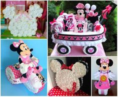 These Minnie Mouse Diaper Cakes will a fantastic gift for any new arrival or for a Baby Shower party.