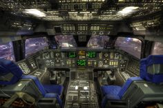 """photograph by Dave Wilson. The cockpit of the mock-up Space Shuttle Orbiter """"Adventure"""" inside Space Center Houston, Texas. Space Shuttle Interior, Spaceship Interior, Space Center, Sistema Solar, Space Program, Flight Deck, Astrophysics, Space Crafts, Craft Space"""