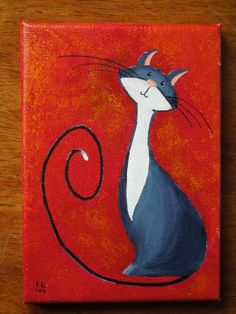Original Cat Painting for Sale: Fantasy Cats Virtuous Cat in Black