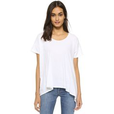 LNA Isabel Tee (6,385 INR) ❤ liked on Polyvore featuring tops, t-shirts, crewneck t shirt, lna tees, crew t shirts, short sleeve crew neck tee and draped tops