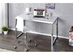 IiNTERIOR White Desk Białe Biurko Lakierowane na Wysoki Połysk 120x60x75cm - i20999