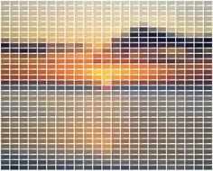 """Paint swatch art. """"Imprimé sur un papier intissé de grande qualité, le décor mesure 372 centimètres de large par 300 centimètres de haut et se présente sous forme de 8 lés à assembler. Il peut être recoupé dans la hauteur et dans la largeur afin de s'adapter à toutes les dimensions de murs. Mi-abstrait, mi-figiratif, Sun 736 se présente sous la forme d'un nuancier géant dont les 736 couleurs, organisées en 32 lignes et 23 colonnes, reproduisent l'image d'un soleil couchant."""""""