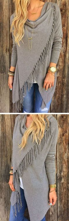 Wonderful! Free Shipping & Easy Return.This coat is just what you want.She featuring simple color, tassel asymmetrical and one button front.Search more shirts and sweaters at vogueclips.com