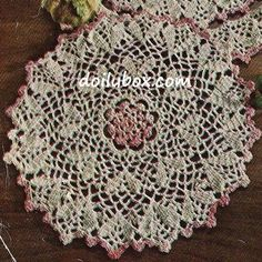 Free crochet pattern Pink White Doily