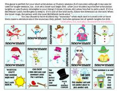 SNOWMAN QUICK DRILL {FOR ARTICULATION OR FLUENCY THERAPY & RTI} - TeachersPayTeachers.com