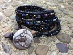 Classy...Handmade Leather Beaded Wrap Bracelet with Horse Head Button on Etsy. Made my my good friend! Definitely check this bracelet out and others on her page!