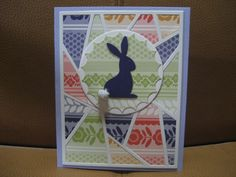 handmade quilt card: Hoppy Easter #2 by SawyerBean  ... die cuts ... fun use of patterned paper  in different colors but same print ...
