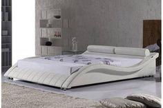 Lit Design Declikdeco promo lit, achat Lit design Madrid 140 cm Blanc pas Cher prix promo Declik Deco 524.00 €