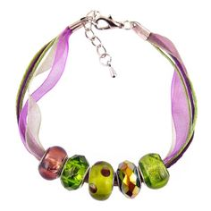 Organza and Cotton Cord Bracelet with Bead Charms - Purple and Olive Green (B384)