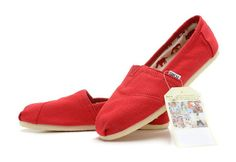 TOMS Red Authentic Canvas Cord Womens Classics Shoes Europe