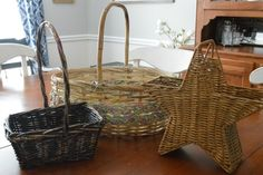I found these great vintage baskets at my local thrift store and inspiration struck! #diymyspring #showyourgreen #eastereggs Here are the baskets.  At a few buc…