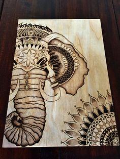 Pyrography Elephant stippled design with mandala by TimberleePyrography