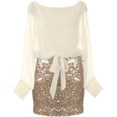 Seasonal Sparkle Dress ($120) ❤ liked on Polyvore featuring dresses, vestidos, short dresses, robe, sleeved dresses, short sleeve dress, slit sleeve dress and long-sleeve mini dress