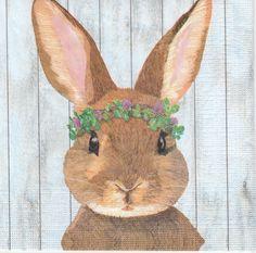 4 Single Table Party Paper Napkins for Decoupage Decopatch Craft Bunny Vivien
